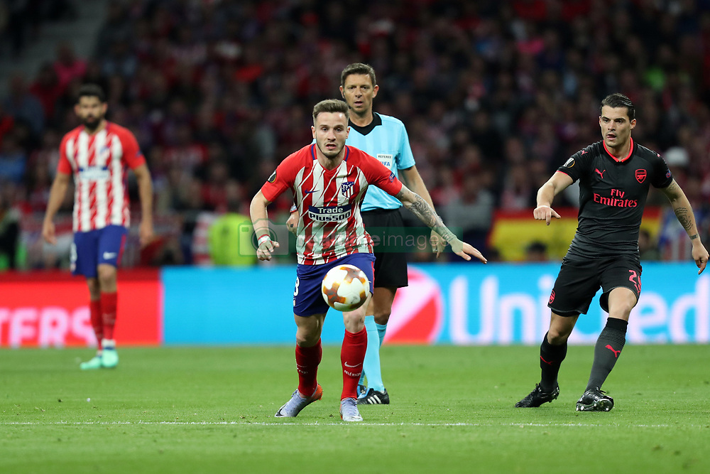 May 3, 2018 - Madrid, Spain - SAUL NIGUEZ of Atletico de Madrid during the UEFA Europa League, semi final, 2nd leg football match between Atletico de Madrid and Arsenal FC on May 3, 2018 at Metropolitano stadium in Madrid, Spain (Credit Image: © Manuel Blondeau via ZUMA Wire)