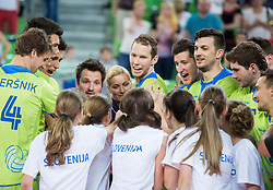 Jan Pokersnik of Slovenia, Alen Sket of Slovenia, Klemen Cebulj of Slovenia, Luka Slabe, head coach of Slovenia, Tine Urnaut of Slovenia, Uros Pavlovic of Slovenia, Mitja Gasparini of Slovenia, Danijel Koncilja of Slovenia celebrate after winning during volleyball match between National teams of Slovenia and F.Y.R. Macedonia in Qualifications for 2015 CEV Volleyball European Championship - Men on May 24, 2014 in Arena Stozice, Ljubljana, Slovenia. Photo by Vid Ponikvar / Sportida