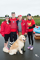 Family affair Emma , John and Aisling Connor  from  Moycullen with Grandfather and Chairman of the Galway branch of the Irish Guide Dogs for the blind Frank Downes and Gallagher who took part in the 26th amphicat row in aid of  The Irish Guide Dogs for the Blind, on the Corrib <br /> . Photo: xposure