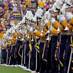 19 September 2009: The LSU Band performs on the field before the start of a 31-3 win by the LSU Tigers over the University of Louisiana-Lafayette Ragin Cajuns at Tiger Stadium in Baton Rouge, Louisiana.