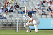 Lancs Joe Mennie ducks a bouncer during the Specsavers County Champ Div 1 match between Lancashire County Cricket Club and Essex County Cricket Club at the Emirates, Old Trafford, Manchester, United Kingdom on 9 June 2018. Picture by George Franks.