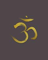 Sanscrit sacred symbol Om or Aum in Yoga, spiritual icon golden yellow design on dark warm gray background. Artistic Japanese Zen illustration.