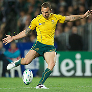 Quade Cooper, Australia, kicking during the New Zealand V Australia Semi Final match at the IRB Rugby World Cup tournament, Eden Park, Auckland, New Zealand, 16th October 2011. Photo Tim Clayton...