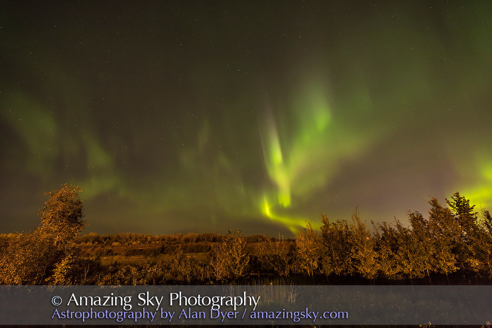 The Northern Lights in a decent display on September 15, 2017, from River Road north of Fort Saskatchewan amid the petrochemical plants lighting the foreground, and overlooking the North Saskatchewan River. <br /> <br /> The Big Dipper is right in the centre of the frame; Polaris and the Little Dipper at top.<br /> <br /> I shot this with the Canon 6D MkII at ISO 800 and 14mm Rokinon SP at f/2.5, for 4 seconds.