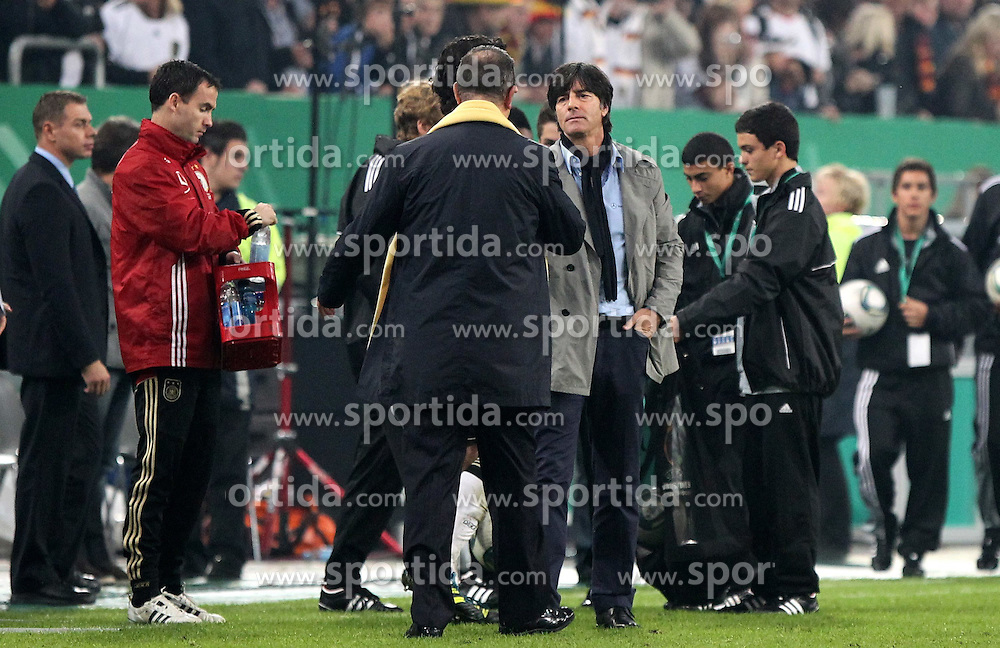 11.10.2011, Esprit Arena, Duesseldorf, GER, UEFA EURO 2012 Qualifikation, Deutschland (GER) vs Belgien (BEL), im Bild..Bundestrainer Joachim Löw (GER) und Nationaltrainer Georges Leekens (Belgien)  nach dem Spiel , Endstand 3:1  ..// during the UEFA Euro 2012 qualifying round Germany vs Belgium  at Esprit Arena, Duesseldorf 2011-10-11 EXPA Pictures © 2011, PhotoCredit: EXPA/ nph/  Hessland       ****** out of GER / CRO  / BEL ******