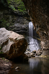 Eden Falls is a series of four waterfalls that plummet 170 feet down the limestone bluffs located along Clark Creek on the Lost Valley Trail near the Buffalo River and Ponca, <br /> <br /> The 150-mile Buffalo River in northern Arkansas was the first river in the United States to receive the designation as a National River. The Buffalo National River, encompasses 135 miles of the river which is managed by the National Park Service. The river is a popular canoeing, kayaking, camping, and fishing destination. Popular destinations in the national river&rsquo;s boundaries include; Lost Valley, Hemmed-In-Hollow Falls (the highest waterfall between the Appalachian and Rocky Mountains, Indian Rockhouse, numerous caves and over 500-foot tall bluffs. The area is also home to Arkansas&rsquo; only elk herd.