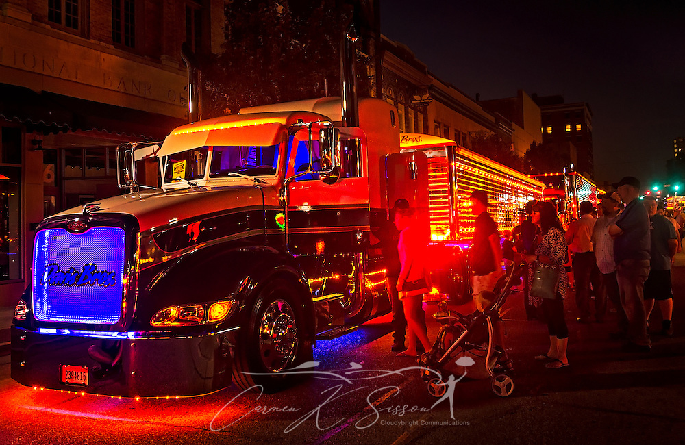 "The Davis Bros.' ""Buzz Kill,"" a 2015 Peterbilt 386 with a 2016 Wilson DH501 trailer, participates in the light show contest during the 34th annual Shell Rotella SuperRigs. SuperRigs, organized by Shell Oil Company, is an annual beauty contest for working trucks. Approximately 89 trucks entered this year's competition. ""Buzz Kill"" won in the nonworking show truck category. (Photo by Carmen K. Sisson/Cloudybright)"