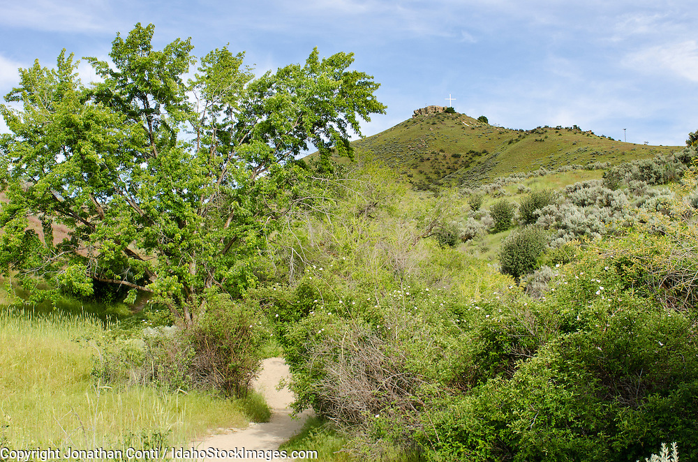 A trail leads up to Table Rock in Boise Idaho