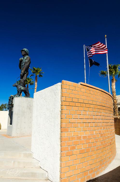 Statue of General Patton and memorial wall, General Patton Memorial Museum, Indio, California USA