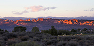 The last vestiges of daylight - Sunset over the strange rock forms of Arches National Park, Utah, USA