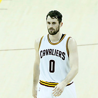 07 June 2017: Cleveland Cavaliers forward Kevin Love (0) is seen during the Golden State Warriors 118-113 victory over the Cleveland Cavaliers, in game 3 of the 2017 NBA Finals, at  the Quicken Loans Arena, Cleveland, Ohio, USA.
