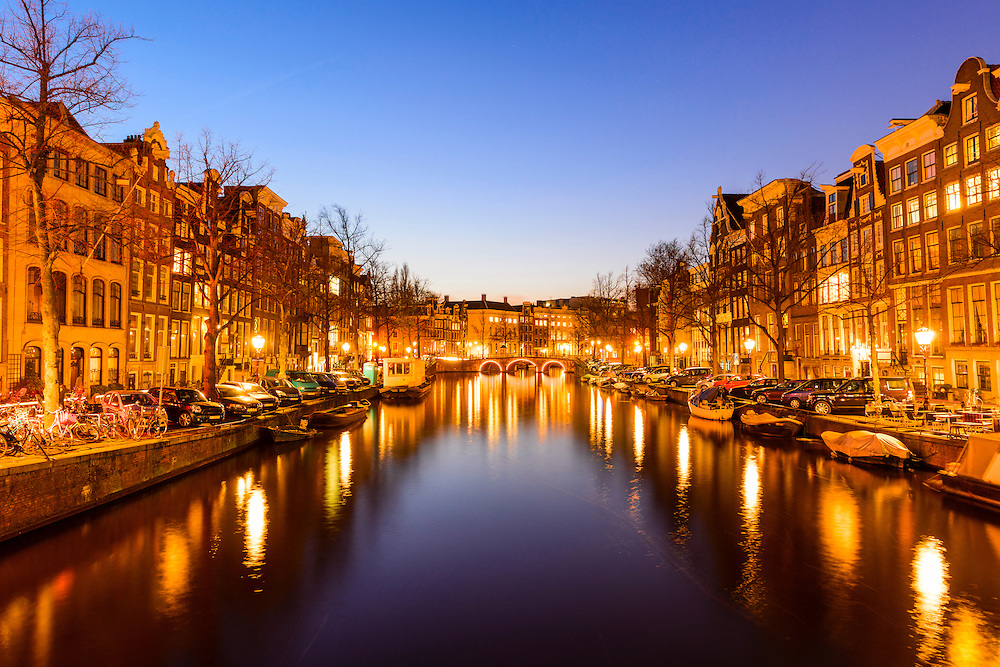 Amsterdam canal at twilight.