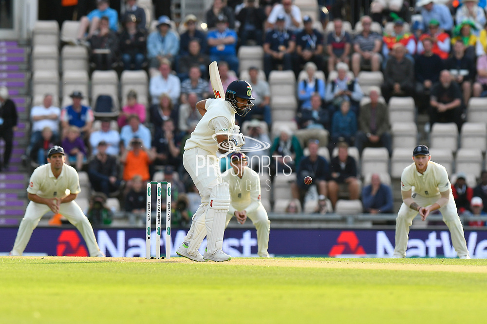 Shikhar Dhawan of India faces the first delivery from James Anderson of England during the first day of the 4th SpecSavers International Test Match 2018 match between England and India at the Ageas Bowl, Southampton, United Kingdom on 30 August 2018.