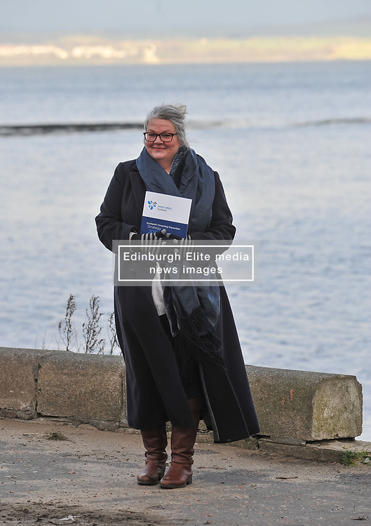Gillian Barclay from Burntisland, whose 18 year old son Cameron Lancaster drowned at a disused quarry in Inverkeithing in 2014, launches the Drowning Prevention Strategy at Crammond Beach. The strategy aims to half the number of accidental drownings in Scotland by 2026.<br /> <br /> © Dave Johnston/ EEm