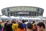 Fans of Netherlands and Costa Rica make their way to the stadium prior to the 2014 FIFA World Cup match at the Itaipava Arena Fonte Nova, Nazare, Bahia<br /> Picture by Stefano Gnech/Focus Images Ltd +39 333 1641678<br /> 05/07/2014