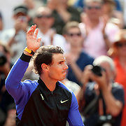 2017 French Open Tennis Tournament - Day Fifteen. Rafael Nadal of Spain reacts as he moves towards the  presentation stand after his win against Stan Wawrinka of Switzerland in the Men's Singles Final match on Philippe-Chatrier Court at the 2017 French Open Tennis Tournament at Roland Garros on June 11th, 2017 in Paris, France.  (Photo by Tim Clayton/Corbis via Getty Images)