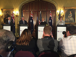 Jun 5, 2017 - Sydney, Australia - The United States does not take its alliance with Australia for granted, Defense Secretary JIM MATTIS said here today. Australian Foreign Minister JULIE BISHOP and Defense Minister Marise Ann Payne hosted Mattis and Secretary of State Rex Tillerson for the 27th Australia-U.S. Ministerial Consultation at the Government House on Sydney Harbor. Also attending were Marine Corps Gen. Joe Dunford, chairman of the Joint Chiefs of Staff; Air Chief Marshal Mark Binskin, chief of the Australian Defense Force; and Navy Adm. Harry Harris, commander of U.S. Pacific Command. PICTURED: Defense Secretary Jim Mattis, Secretary of State Rex Tillerson, Australian Foreign Minister Julie Bishop and Australian Defense Minister Marise Ann Payne speak to the press about the Australia-U.S. Defense Ministerial Consultations held in Sydney, June 5, 2017. (Credit Image: © Jim Garamone/DoD via ZUMA Wire/ZUMAPRESS.com)