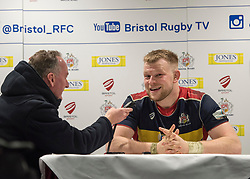Joe Joyce of Bristol Rugby chats with Mark Hoskins after the game - Mandatory by-line: Paul Knight/JMP - 22/12/2017 - RUGBY - Ashton Gate Stadium - Bristol, England - Bristol Rugby v Cornish Pirates - Greene King IPA Championship