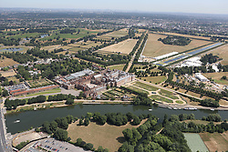 Image ©Licensed to i-Images Picture Agency. Aerial views. United Kingdom.<br /> Hampton Court and  golf course. Picture by i-Images