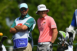 May 2, 2019 - Charlotte, NC, U.S. - CHARLOTTE, NC - MAY 02:  Peter Malnati stands next to his caddie as he waits for his turn on the 18th tee box in round one of the Wells Fargo Championship on March 02, 2019 at Quail Hollow Club in Charlotte,NC. (Photo by Dannie Walls/Icon Sportswire) (Credit Image: © Dannie Walls/Icon SMI via ZUMA Press)