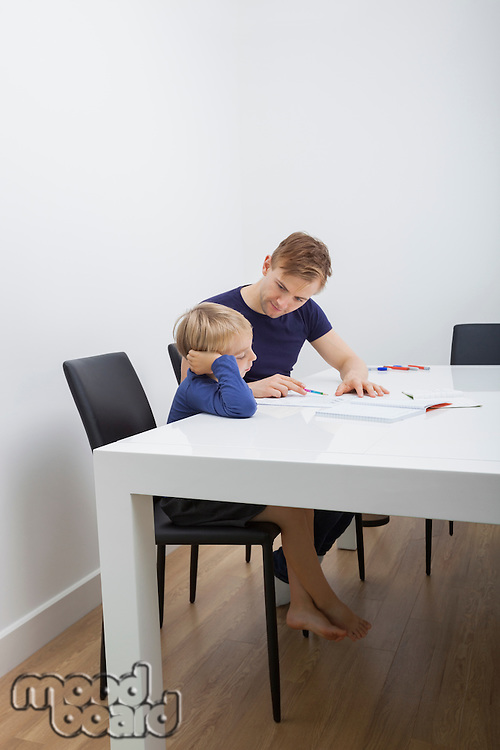 Mid adult man helping boy in studies at table
