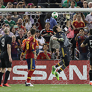 Goalkeeper Iker Casillas, Spain, saves during the Spain V Ireland International Friendly football match at Yankee Stadium, The Bronx, New York. USA. 11th June 2013. Photo Tim Clayton