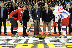 The ceremonial faceoff before Game 4 of the CHL's SUBWAY Super Series in Windsor, ON on Monday. Photo by Aaron Bell/OHL Images.
