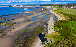 Aerial view of Greenan Castle 16th century ruined tower house south of Ayr, South Ayrshire, Scotland, UK