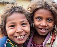 Smiling young children in a small village near Nepalganj, Nepal