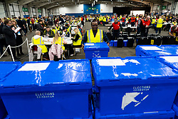 Edinburgh, Scotland, UK. 12th December 2019. Ballot boxes at the Parliamentary General Election Count at the Royal Highland Centre in Edinburgh. Iain Masterton/Alamy Live News