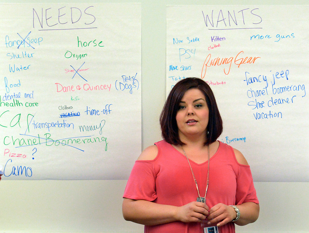 gbs060517k/RIO-WEST -- Hope Montoya-Encinias teaches a financial literacy course for high school students at Bernalillo High School on Monday, June 5, 2017. Nusenda Credit Union is offing the free summer course for high school credit. (Greg Sorber/Albuquerque Journal)