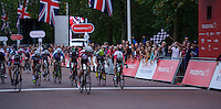 The Prudential RideLondon Grand Prix Youth Boys race. Prudential RideLondon is the world&rsquo;s greatest festival of cycling involving 70,000+ cyclists &ndash; from Olympic champions to a free family fun ride - riding in five events over closed roads in London and Surrey over the weekend of 9th and 10th August. <br /> <br /> Photo: Jon Buckle for Prudential RideLondon<br /> <br /> Saturday 9th August 2014<br /> <br /> See www.PrudentialRideLondon.co.uk for more.<br /> <br /> For further information: Penny Dain 07799 170433<br /> pennyd@ridelondon.co.uk