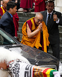 """The Dalai Lama arriving at St Paul's Cathedral to receive The Templeton Prize on May 14th 2012..The Dalai Lama has said he will give away to charity £1.1m in prize money being awarded to him...The Tibetan spiritual leader is receiving the annual Templeton Prize in London for exceptional contribution to """"affirming life's spiritual dimension"""" Photo by Ki Price/i-Images"""