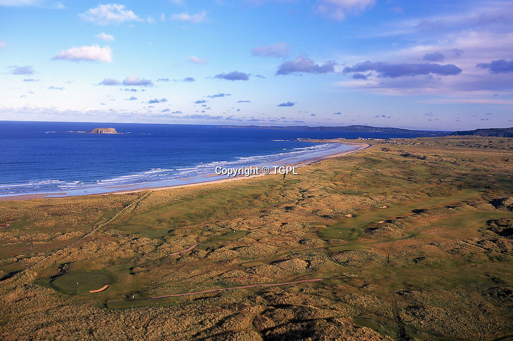 Aerial view Ballyliffin Old Links and Glashedy,Ballyliffin,Co<br /> Donegal,Ireland.