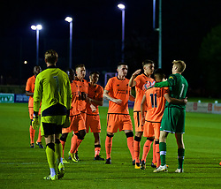 LEYLAND, ENGLAND - Friday, September 1, 2017: Liverpool players celebrate after winning the penalty shoot-out during the Lancashire Senior Cup Final match between Fleetwood Town and Liverpool Under-23's at the County Ground. (Pic by Propaganda)