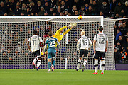 Wigan goalkeeper Jussi Jaaskelainen saves Darren Bent's shot at goal during the EFL Sky Bet Championship match between Derby County and Wigan Athletic at the iPro Stadium, Derby, England on 31 December 2016. Photo by Aaron  Lupton.