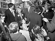 15/05/1982<br /> 05/15/1982<br /> 15 May 1982<br /> An Taoiseach, Mr Charles Haughey, canvasing with Fianna Fail bye-election candidate Eileen Lemass in Dublin West. Image shows An Taoiseach and Eileen Lemass (centre) canvasing on Ballyfermot Road.