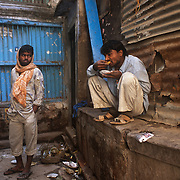 A street scene in Varanasi. The hungry need never starve in Banaras, they will find something to eat at any part of the day or night. Hygiene is a little suspect, naturally, because you are talking of eateries that are little more than holes in the wall; or benches and charpais spread around a cauldron of boiling oil and frying pans.