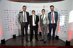 LIVERPOOL, ENGLAND - Tuesday, May 19, 2015: Liverpool Ladies coach Joe Potts, manager Matt Beard, coach Scott Rogers and Jordan Whelan arrive on the red carpet for the Liverpool FC Players' Awards Dinner 2015 at the Liverpool Arena. (Pic by David Rawcliffe/Propaganda)