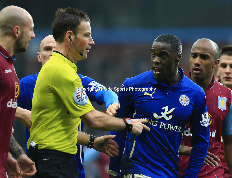 15th February 2015 - FA Cup 5th Round - Aston Villa v Leicester City - Jeff Schlupp of Leicester City (R) is led away after getting into a heated argument with Alan Hutton of Aston Villa (L) - Photo: Paul Roberts / Offside.