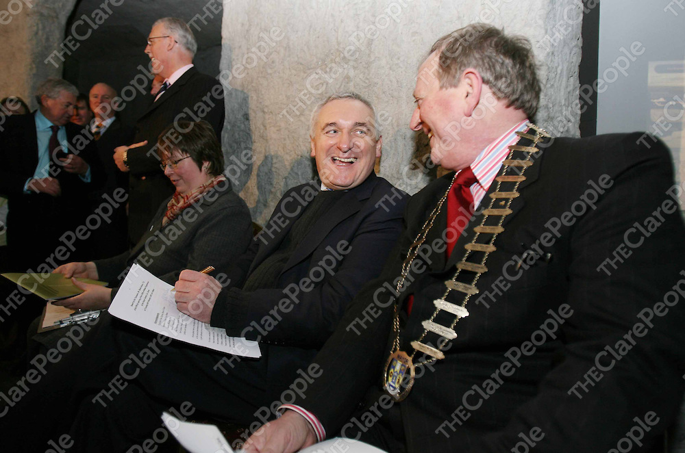 Taoiseach Bertie Ahern and Mayor of Clare Flan Garvery at the official opening of the new Visitor Centre at the Cliffs of Moher Co Clare on Thursday.<br />