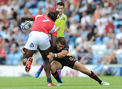 Aderito Esteves of Portugal is challenged by Fabian Heimpel of Germany - Photo mandatory by-line: Dougie Allward/JMP - Mobile: 07966 386802 - 11/07/2015 - SPORT - Rugby - Exeter - Sandy Park - European Grand Prix 7s