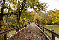 Foot bridge over the Caney Fork River. Rock Island State Park, Tennessee