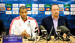 LIVERPOOL, ENGLAND - Tuesday, December 8, 2009: Liverpool's David Ngog and manager Rafael Benitez during a press conference at Anfield ahead of the UEFA Champions League Group E match against AFC Fiorentina. (Pic by David Rawcliffe/Propaganda)