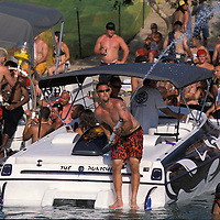 Partiers descend on Lake Havasu, Arizona for the Memorial Day weekend. The lake attracts thousands of boaters and partiers every year during major holidays.