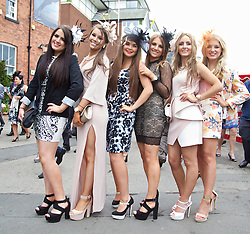 LIVERPOOL, ENGLAND - Friday, April 4, 2014: Alex, Hollie, Becca, Sian, Clarissa and Natalia during Ladies' Day on Day Two of the Aintree Grand National Festival at Aintree Racecourse. (Pic by David Rawcliffe/Propaganda)