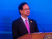 23 JULY 2015 - BANGKOK, THAILAND: NGUYEN TAN DUNG, Prime Minister of Vietnam, at the podium during joint statements made by the Thai and Vietnamese Prime Ministers at Government house in Bangkok. The Vietnamese Prime Minister and his wife came to Bangkok for the 3rd Thailand - Vietnam Joint Cabinet Retreat. The Thai and Vietnamese Prime Minister discussed issues of mutual interest.      PHOTO BY JACK KURTZ