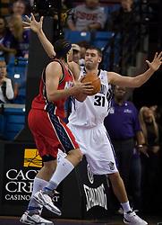 November 27, 2009; Sacramento, CA, USA;  Sacramento Kings center Spencer Hawes (31) defends New Jersey Nets center Josh Boone (2)during the third quarter at the ARCO Arena. Sacramento defeated New Jersey 109-96.