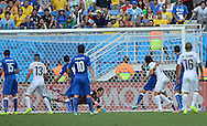 Diego God&iacute;n (not seen) of Uruguay scores the only goal of the game during the 2014 FIFA World Cup match at Arena das Dunas, Natal<br /> Picture by Stefano Gnech/Focus Images Ltd +39 333 1641678<br /> 24/06/2014