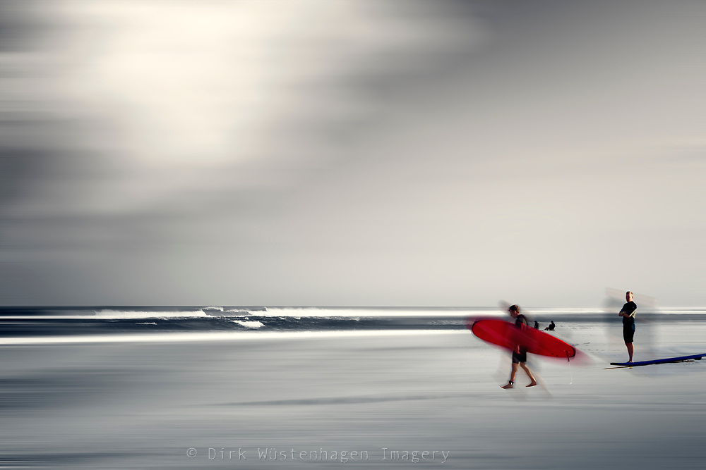 Surfr carrying a red board - abstraction<br /> Prints &amp; more:<br /> http://society6.com/DirkWuestenhagenImagery/red-surf-board_Print